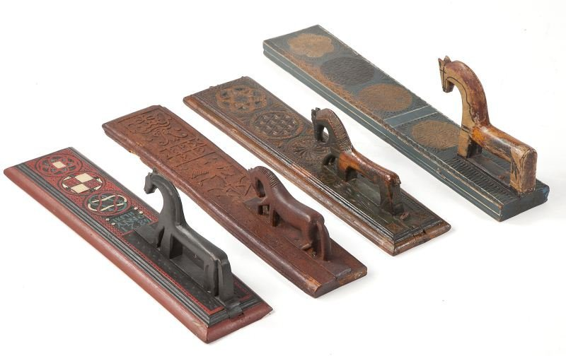 806: Set of Four Horse Handled Mangling Boards