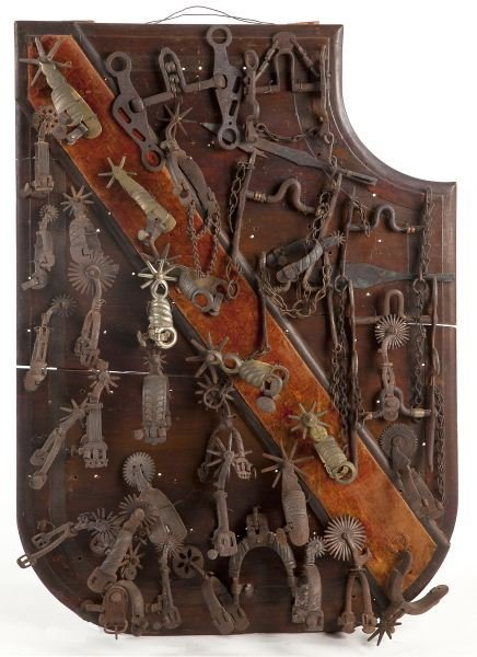 813: Shaped Panel of Antique Spanish Steel Bits & Spurs