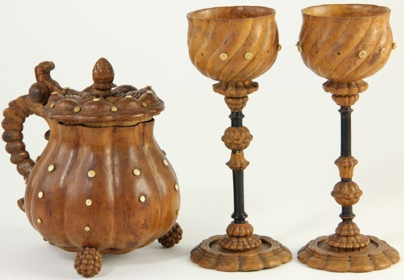 825: Two Treenware Goblets and Lidded Pitcher