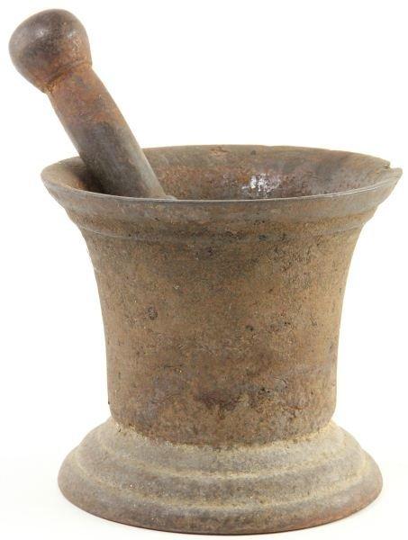 827: Spanish Cast Iron Mortar and Pestle