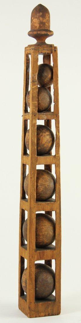 829: Wooden Square Tapered Folk Art Garniture