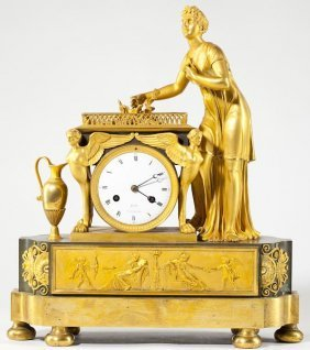 987: French Empire Gilded Mantel Clock