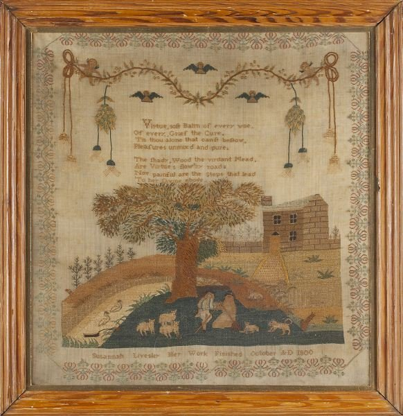118: American Pictorial Needlework, circa 1800