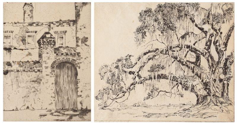 120: Antoinette Rhett (SC, 1884-1964), Two Etchings