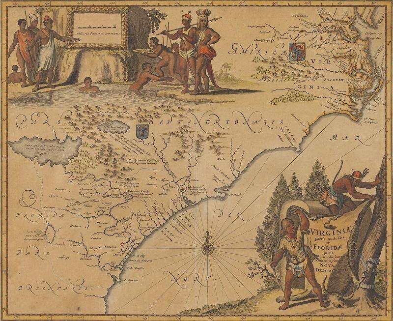 122: Arnoldus Montanus Map of Southeastern Coast