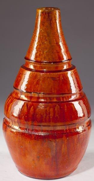128: NC Pottery Chrome Red Vase, att. J.B. Cole