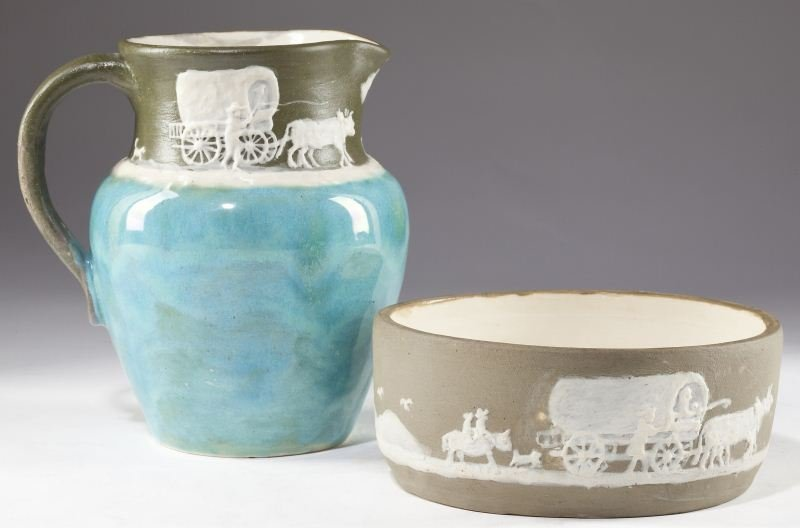 129: NC Pottery, Two Pieces, Pisgah Forest