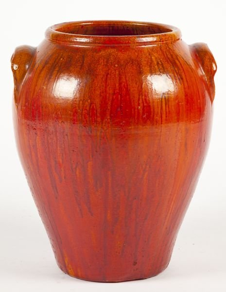 132: NC Pottery Chrome Red Porch Vase