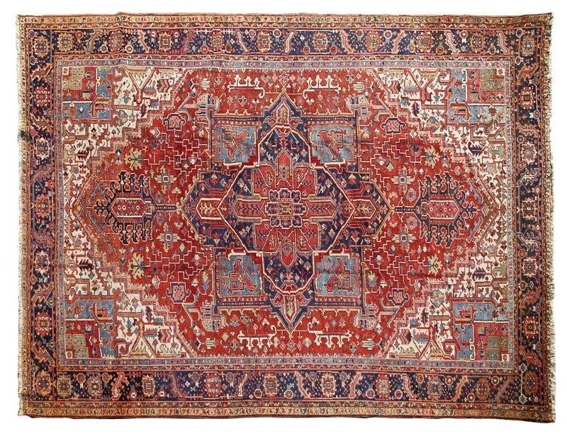 172: Large Room Size Semi-Antique Heriz Carpet