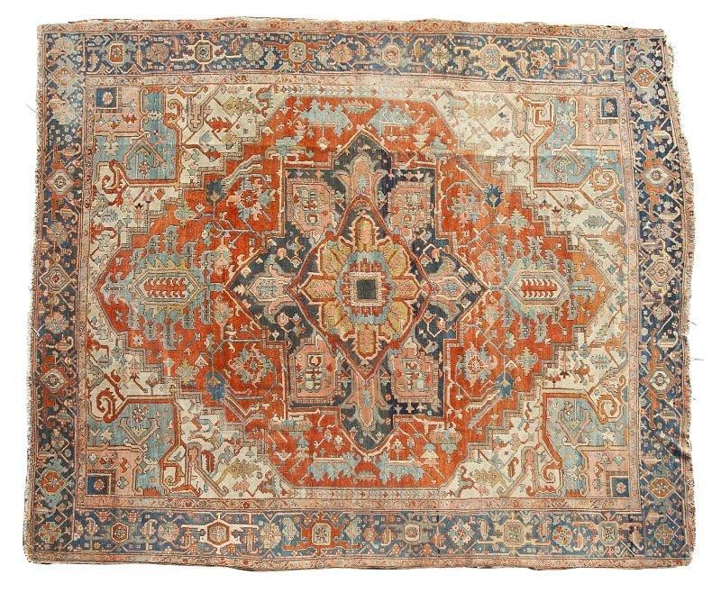 180: Semi-Antique Room Size Heriz Carpet, circa 1920