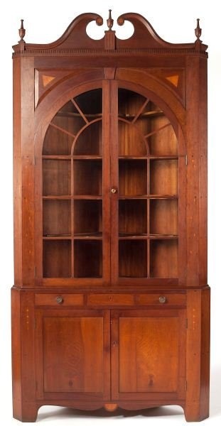 184: Chippendale Style Inlaid Corner Cupboard