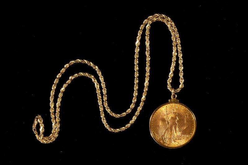 232: 1908 St. Gaudens $20 Gold Double Eagle Pendant