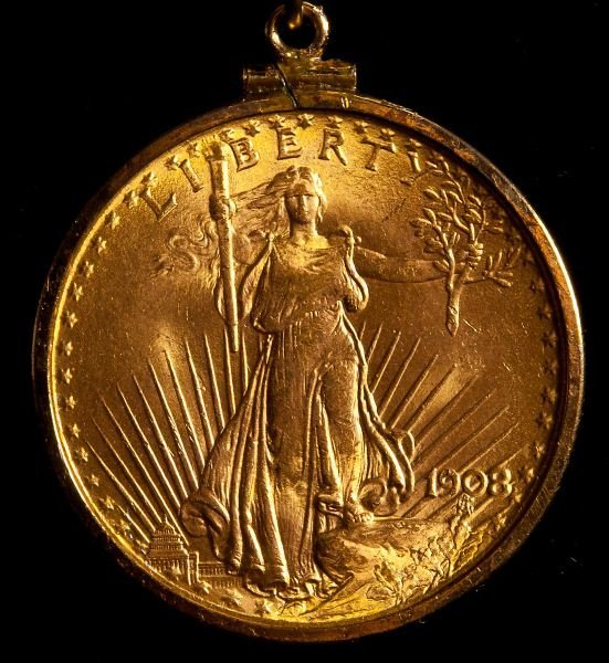 232: 1908 St. Gaudens $20 Gold Double Eagle Pendant - 2