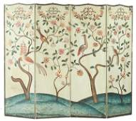 331 French Painted Four Panel Floor Screen