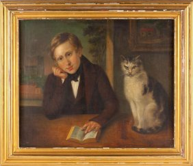 Continental School Portrait Of A Boy With Cat