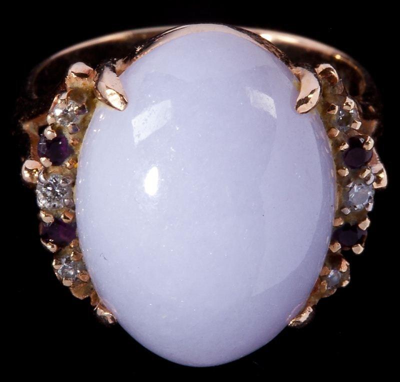 403: Lavender Jade, Garnet, and Diamond Ring