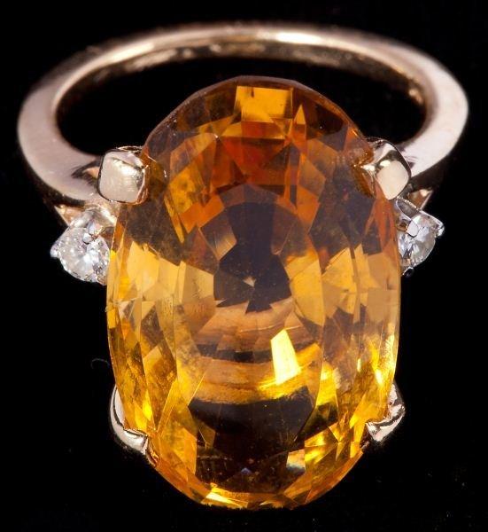 408: Citrine and Diamond Ring