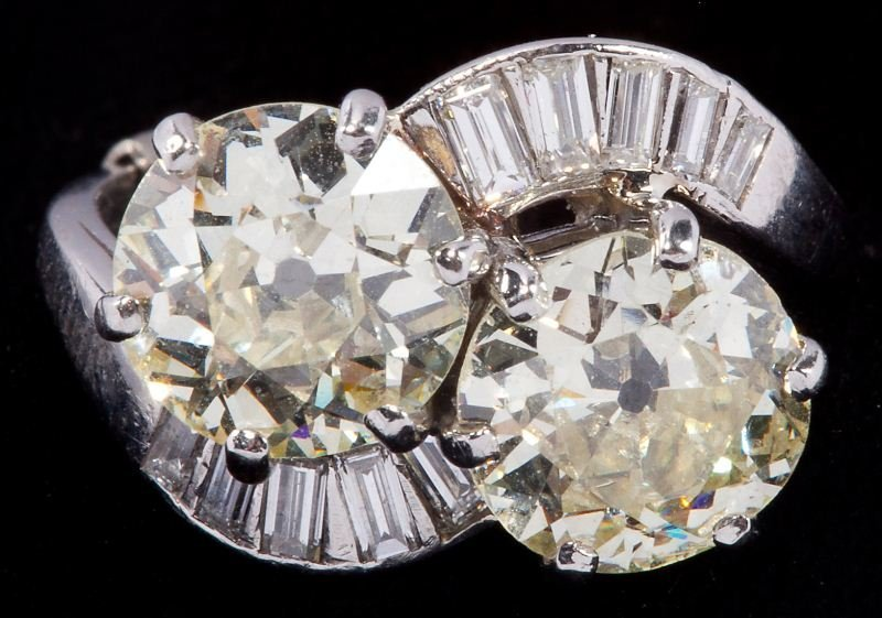 411: Platinum Two Stone Diamond Ring