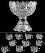 441 American Brilliant Period Cut Glass Punch Bowl