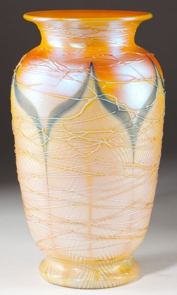 10: att. Durand Pulled Feather Art Glass Vase