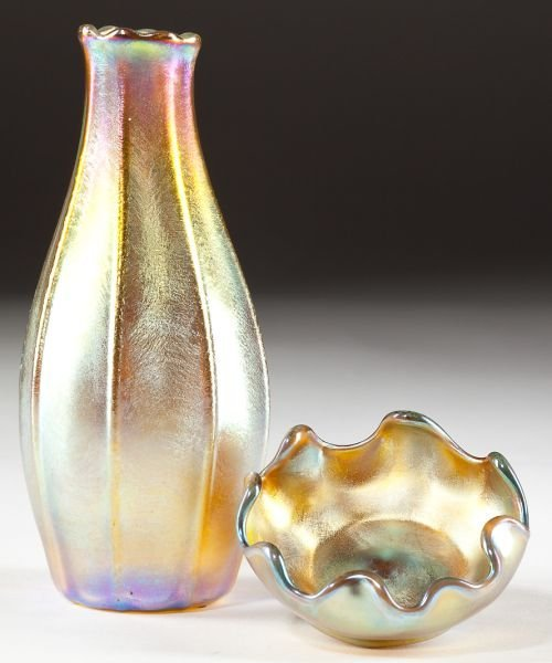 14: Two Signed L.C. Tiffany Favrile Glass Objects