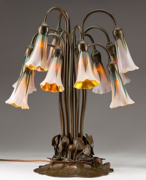 "16: Buffalo Bronze ""Lily Lamp"" with Lundberg Shades"