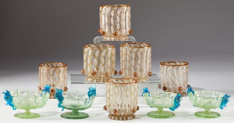 23: Group of Ten Venetian Glass Table Articles