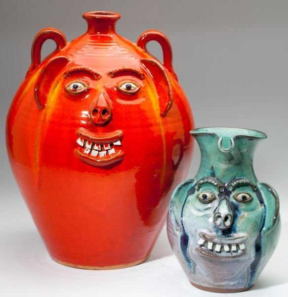 72: NC Pottery Two A.V. Smith Face Jugs