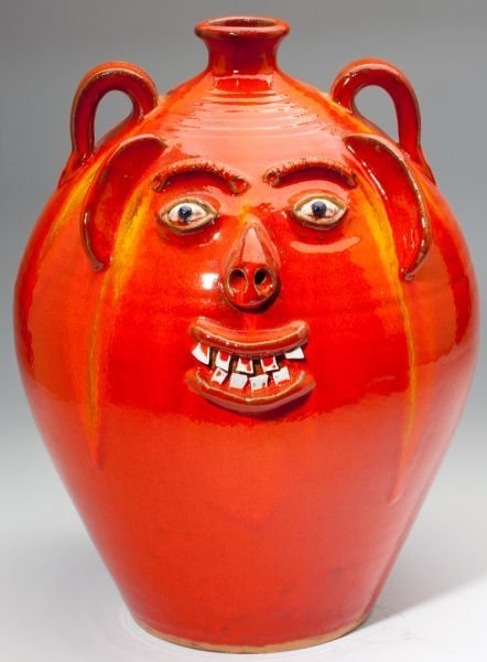 72: NC Pottery Two A.V. Smith Face Jugs - 2
