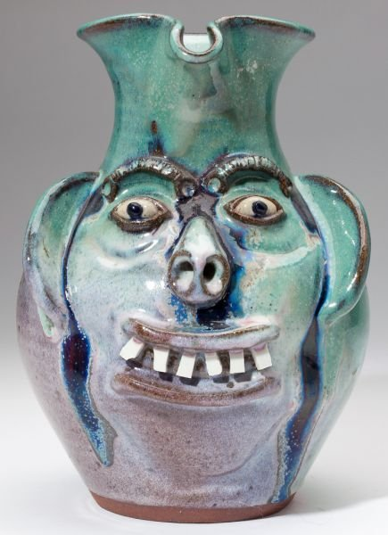 72: NC Pottery Two A.V. Smith Face Jugs - 6