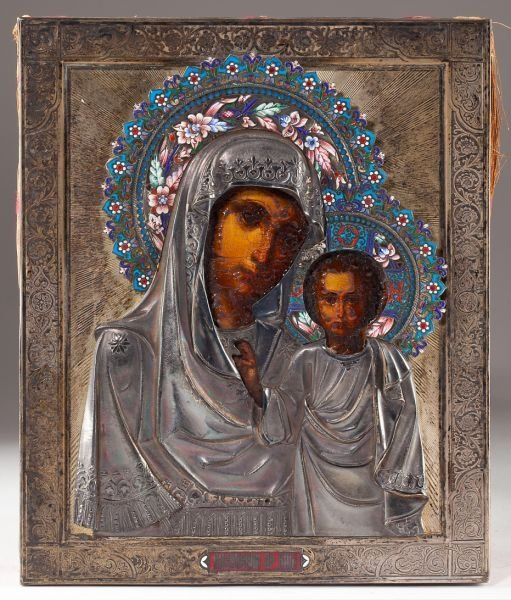 473: Silver & Cloisonne Icon - Mother of God of Kazan