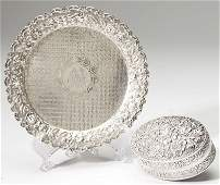 720: Two Sterling Silver Repousse Dresser Items