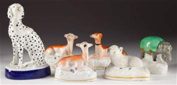 756 Group of Six Staffordshire Miniature Animals