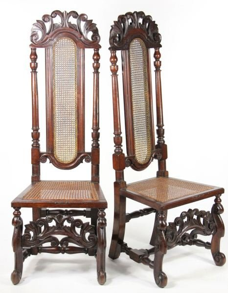 5: Pair of Jacobean Revival Hall Chairs