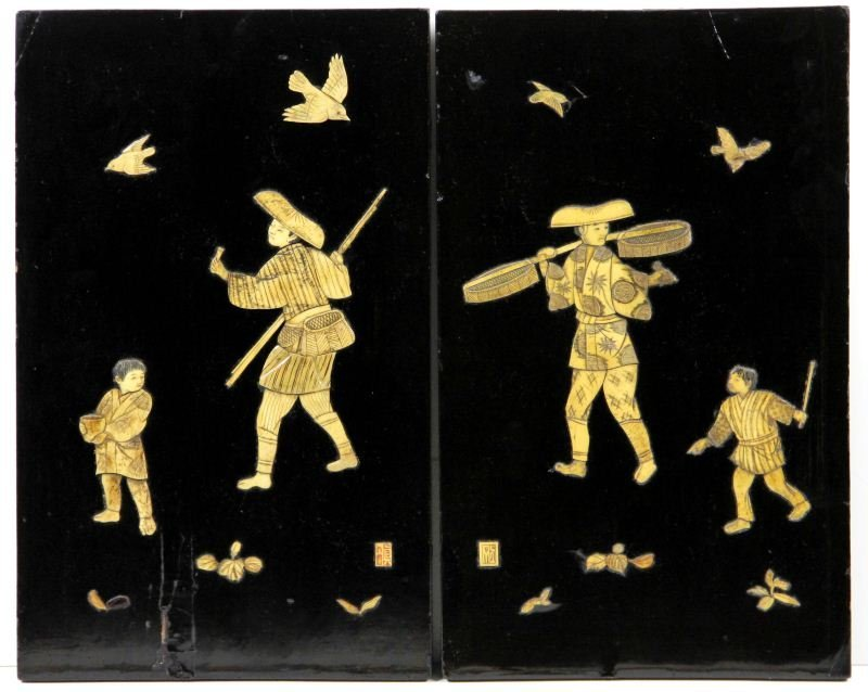 9: Pair of Asian Lacquered and Inlaid Plaques