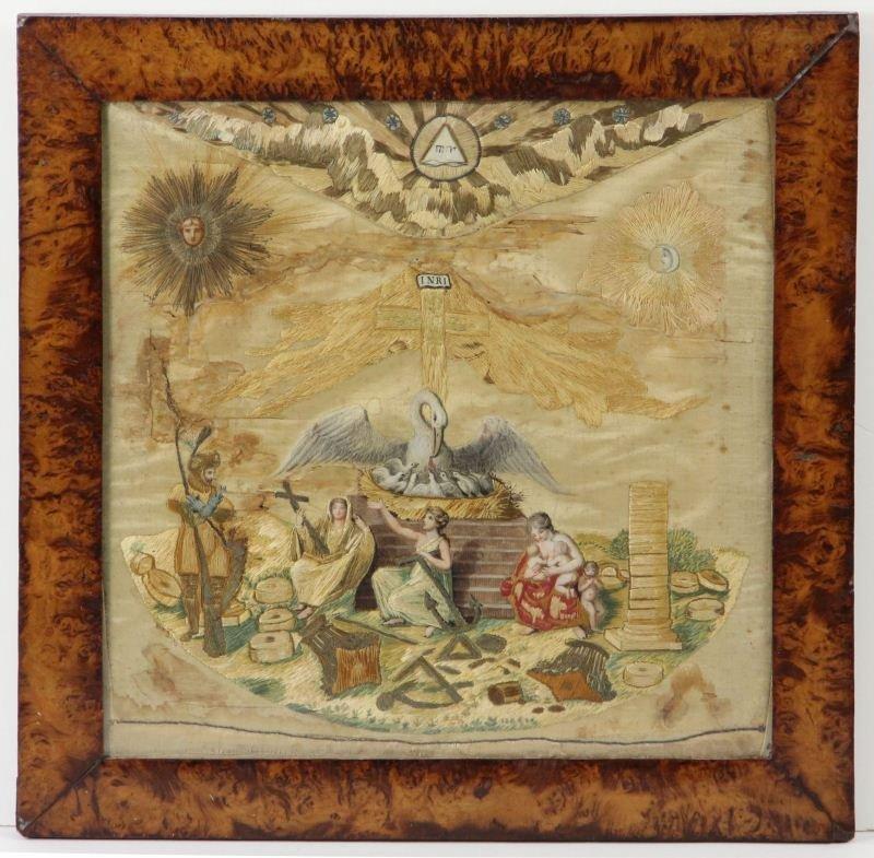 12: Masonic Silk Pictorial Needlework, 19th century