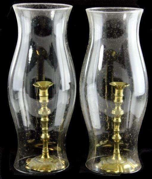 16: Pair of 18th Century Style Brass Candlesticks