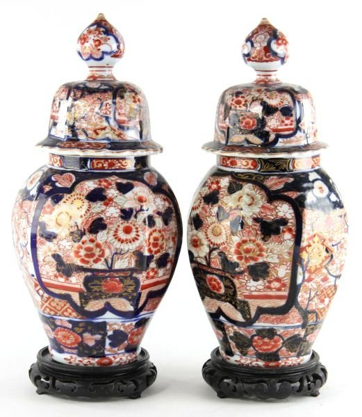 21: Pair of Imari Porcelain Lidded Mantel Urns