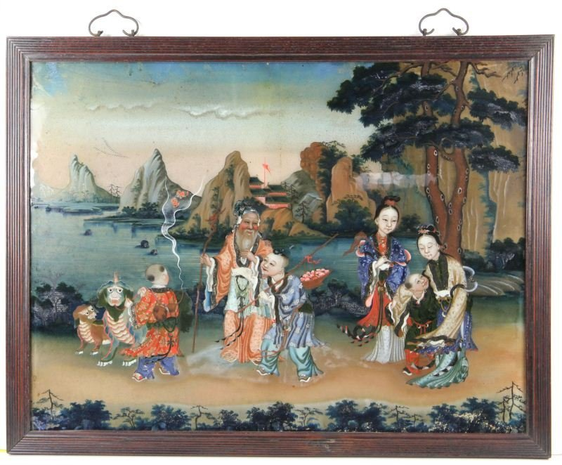 22: Chinese Reverse Painting on Glass, 19th Century