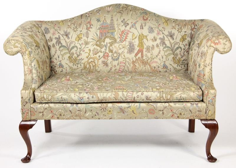 24: Chippendale Style Camel Back Settee