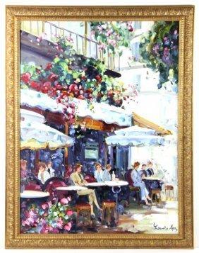 Impressionist Style Caf� Scene