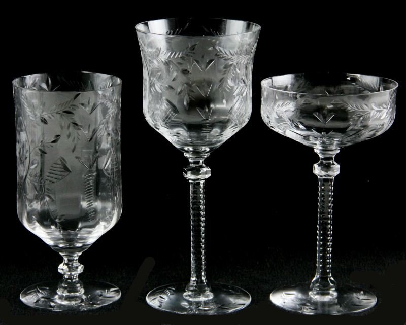 49: Set of Vintage Etched Glass Stemware