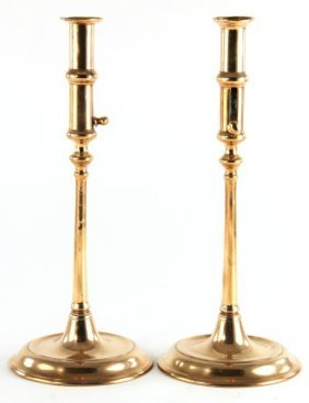 Pair Of Copper Push-Up Candlesticks