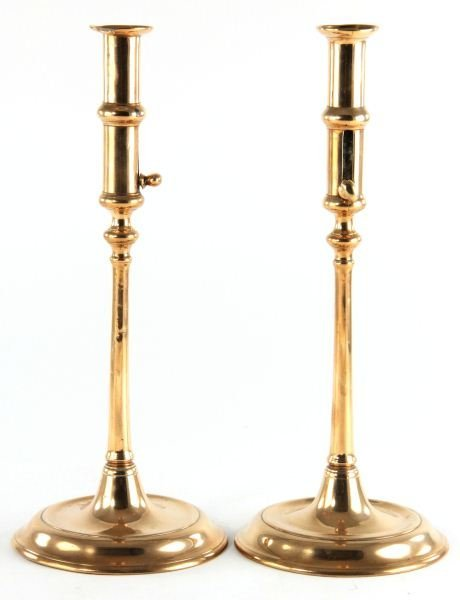 51: Pair of Copper Push-Up Candlesticks