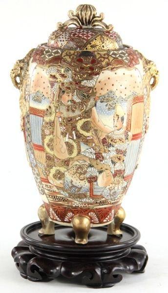 53: Japanese Satsuma Lidded Urn