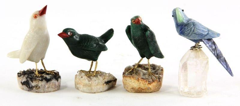 59: Four Carved Hardstone Birds