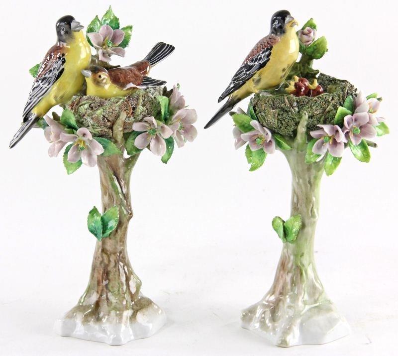 61: Pair of Sitzendorf Porcelain Nesting Bird Figures