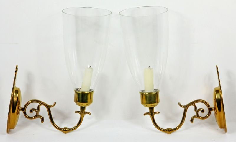 68: Pair of Brass Wall Sconces
