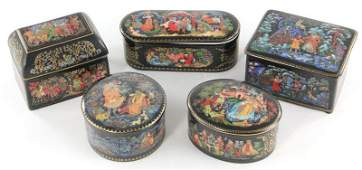 404: Group of Five Russian Porcelain Boxes