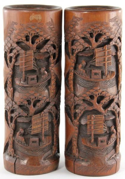 425: Pair of Chinese Carved Bamboo Vases